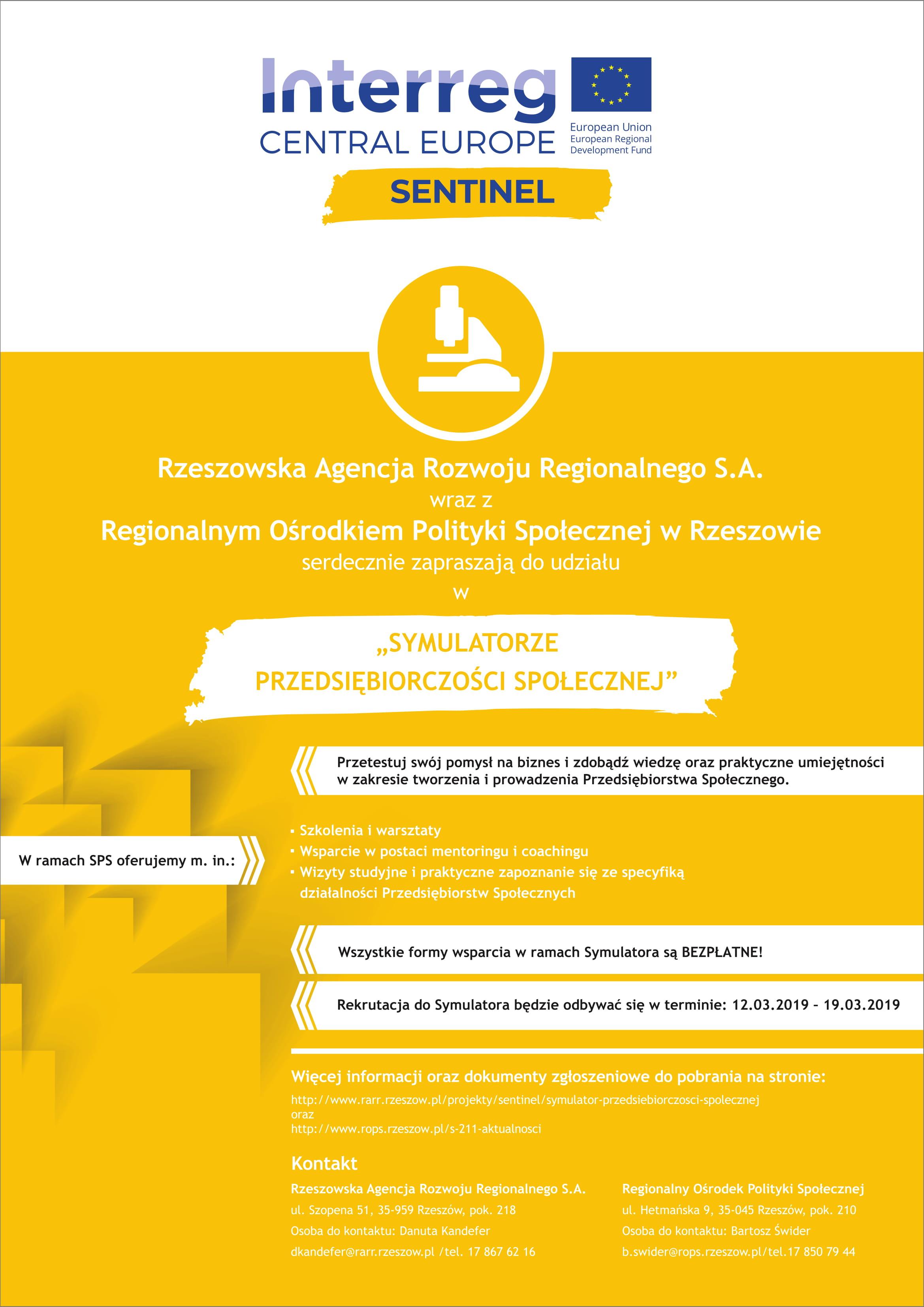 Plakat promujący Symulator Przedsiębiorczości Społecznej